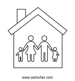 parents couple and children figures in house line style icon