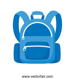 school bag equipment flat blue color