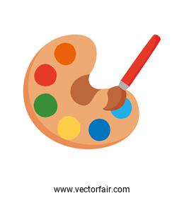 paint brush with palette tool flat style icon
