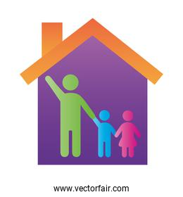 father with kids figures in house degradient style icon