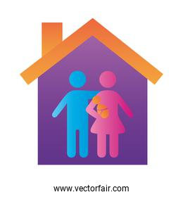 parents couple lifting baby family figures in house degradient style icon