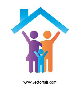 parents couple with son figures in house degradient style icon over white
