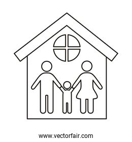 parents couple with son figures in house line style icon