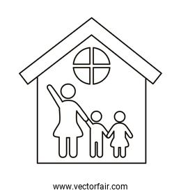 mom and kids figures in house line style icon