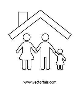 parents couple with daughter figures in house line style icon
