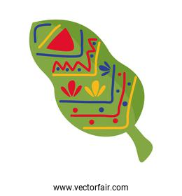 leaf plant with mexican decoration flat style