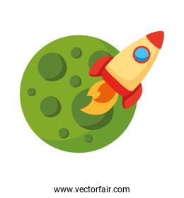 rocket launcher spaceship and planet flat style icon