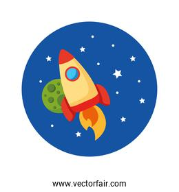rocket launcher spaceship and planet universe scene flat style icon