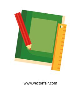 text books school with rule and color pencil flat style icon