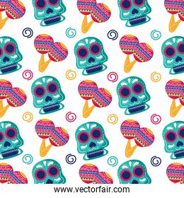 traditional mexican skulls heads and maracas flat style pattern