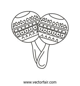 maracas mexican culture line style icon
