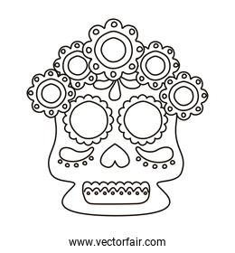 traditional mexican skull head with flowers line style icon