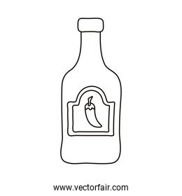 tequila bottle mexican line style icon