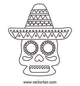 traditional mexican skull head and mexican hat line style icon