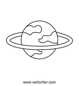 saturn sphere planet flat style icon