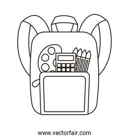 school bag with crayons and calculator flat style icon