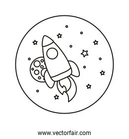 rocket launcher spaceship and planet universe scene line style icon