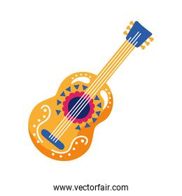 traditional mexican guitar instrument flat style icon