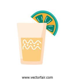 tequila cup mexican with lemon flat style icon
