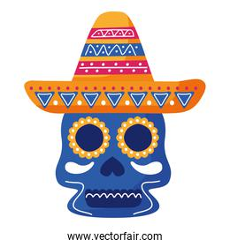traditional mexican skull head and mexican hat flat style icon