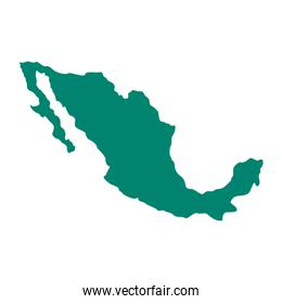 mexico map flat style icon