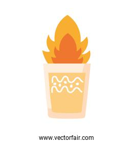 tequila cup on fire mexican flat style icon