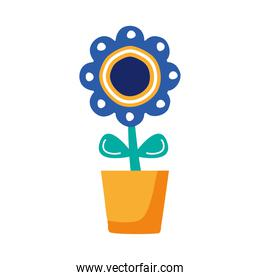 beautiful flower garden in pot flat style icon