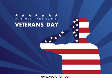 happy veterans day lettering with soldier saluting usa flag