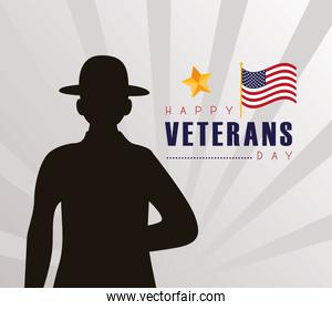 happy veterans day lettering with soldier black silhouette