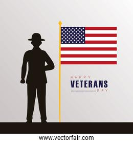 happy veterans day lettering with soldier black silhouette and flag in pole