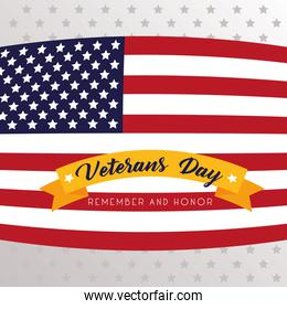 happy veterans day lettering with usa flag in gray background