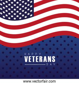 happy veterans day lettering with usa flag in starry background