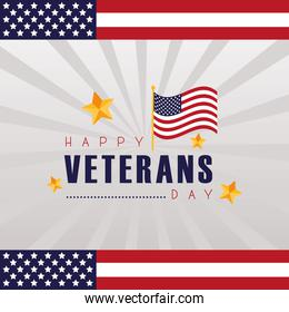 happy veterans day lettering with usa flag frame