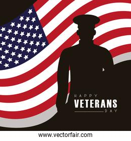 happy veterans day lettering with officer silhouette and flag