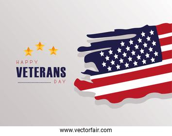 happy veterans day lettering with usa flag painted in gray background