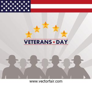 happy veterans day lettering with usa flag and soldiers silhouettes