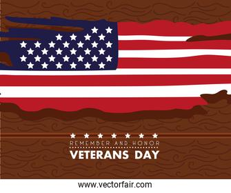 happy veterans day lettering with usa flag painted in wooden background