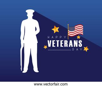 happy veterans day lettering with officer silhouette