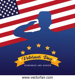 happy veterans day lettering with soldier saluting usa flag and golden ribbon