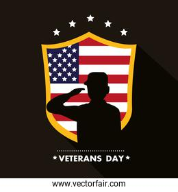 happy veterans day lettering with soldier saluting flag in shield
