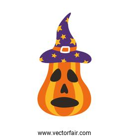 halloween pumpkin with witch hat flat style icon