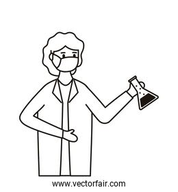 female doctor wearing medical mask with tube test flask laboratory line style icon