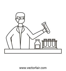 male doctor wearing medical mask woking in laboratory desk line style icon