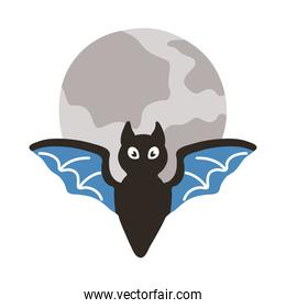 halloween bat flying and fullmoon flat style icon
