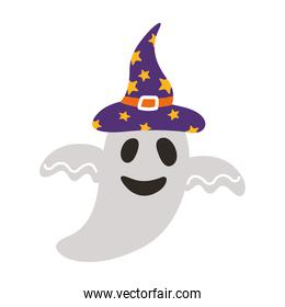 halloween ghost floating with witch hat style flat icon