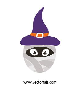 mummy wearing witch hat halloween character flat style icon