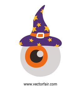 halloween eye with witch hat flat style icon