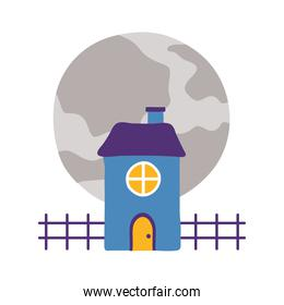 halloween dark house with moon flat style icon
