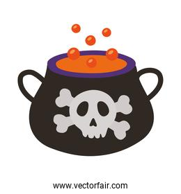 witch cauldron pot with skull stamp flat style icon
