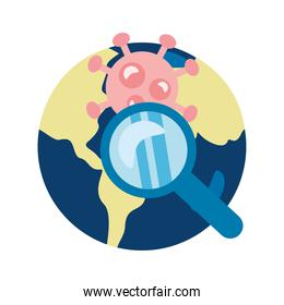 covid19 particle and magnifying glass in earth planet flat style icon